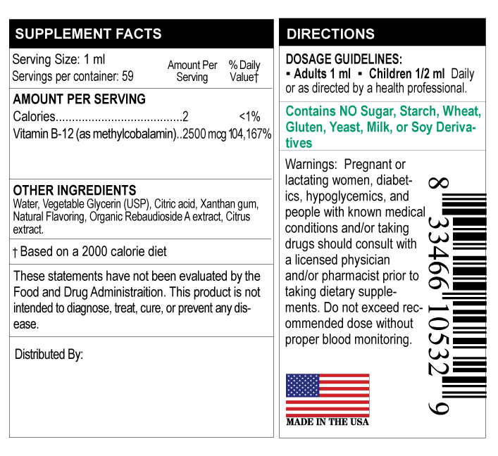 supplement facts label for vitamin B-12