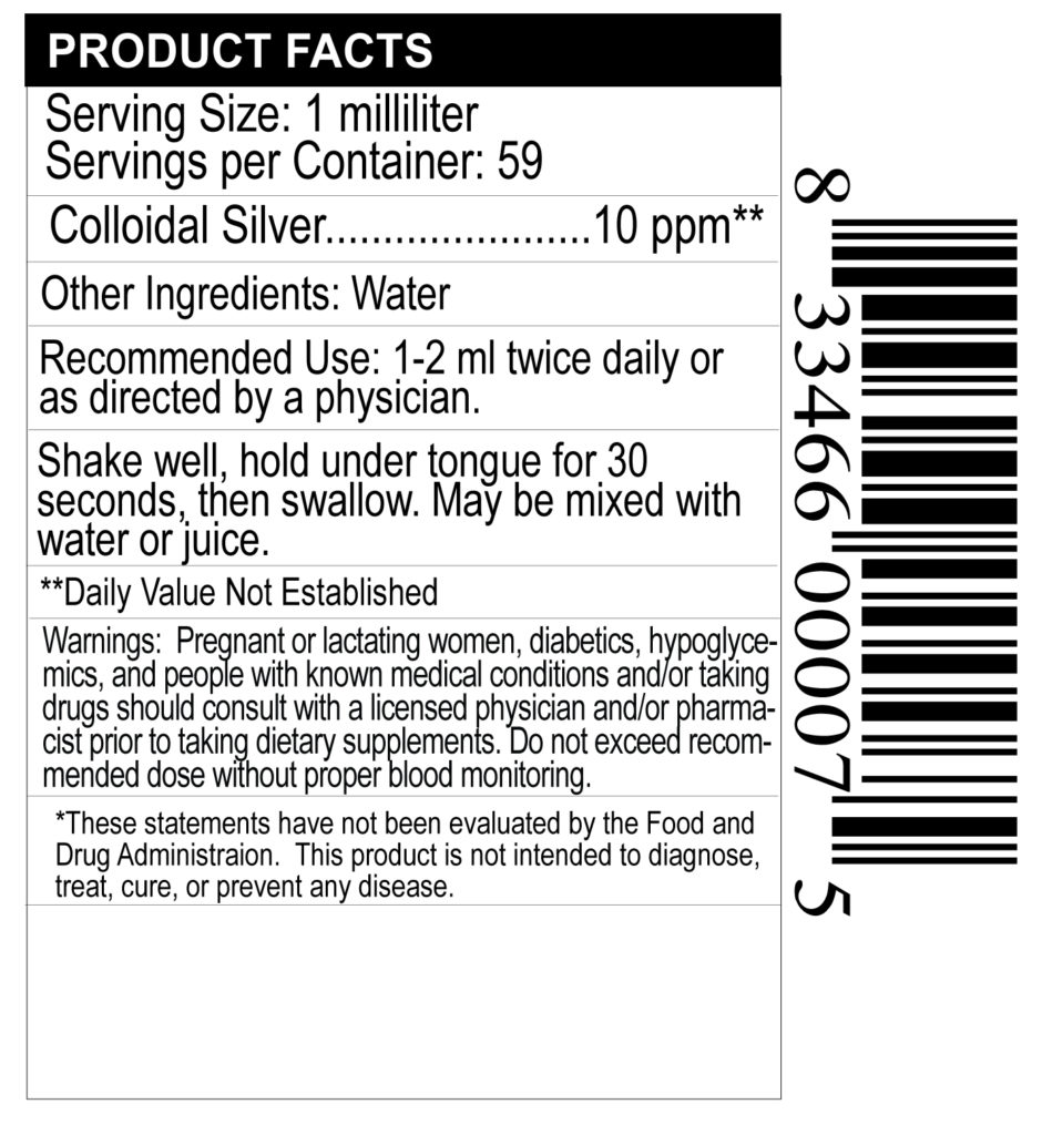 supplement facts label for colloidal silver drops