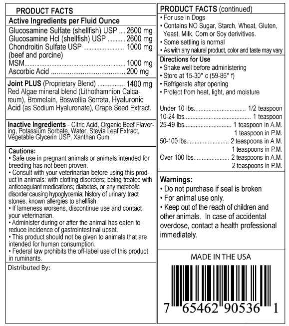 supplement facts label for K9 Level 5000