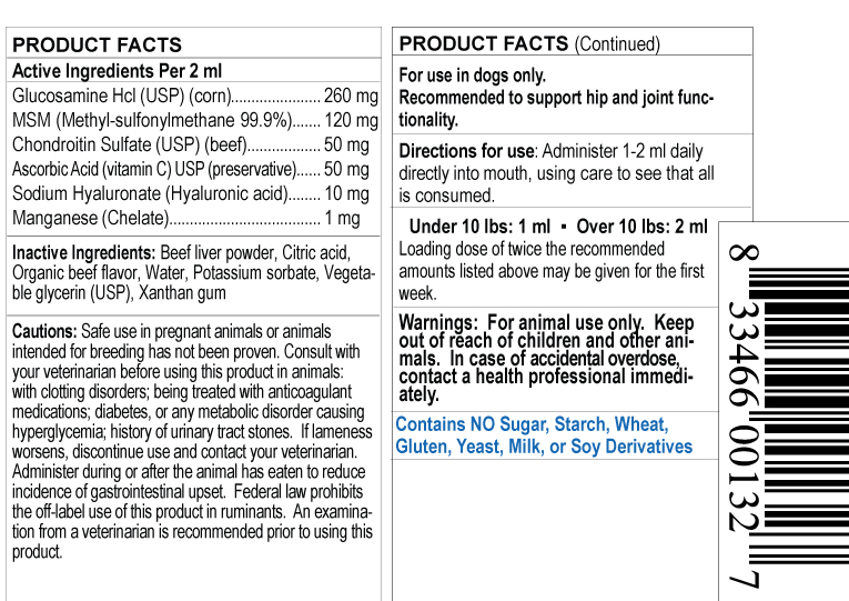 supplement facts label for small dog glucosamine